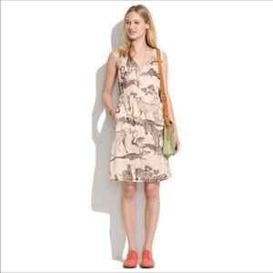 Madewell silk safari sketch dress w/pockets & slip